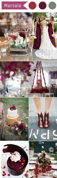 elegant Marsala wine unique wedding color ideas insperation