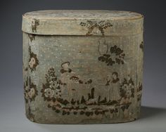 HANNAH DAVIS WALLPAPER-COVERED BENTWOOD BANDBOX, EAST JAFFREY, NEW HAMPSHIRE, CIRCA 1849. Est. $600-$900
