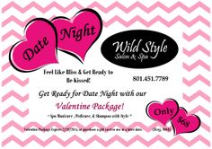 Who's ready for the big day coming up on February 14th? its only 17 days away ladies so keep hinting to that special someone :) this is the PREFECT way to get ready for that special date  :) come on in and get pampered!  Book your appointment today! 801-451-7789  For more information check this out!  Facebook: https://www.facebook.com/pages/Wild-Style-Salon-Spa/200100025878 Website: www.wildstylesalon.com  instagram: @wildstylesalonandspa #wildstylesalon #Valentines #Valentinesday