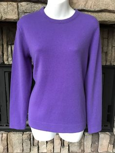 New Women's Ralph Lauren Polo Crew Neck Sweater 100% Cashmere Purple Medium #PoloRalphLauren #Crewneck