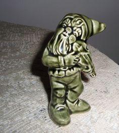 """Ceramic Leprechaun, Green Irish GNOME, Gnome figurine with fiddle, Garden Gnome, 3 1/4"""" green ceramic Leprechaun"""