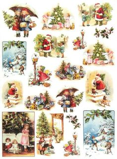 Rice Paper for Decoupage Decopatch Scrapbook Craft Sheet Vintage Christmas Time Retro Christmas Decorations, Vintage Christmas Images, Victorian Christmas, Christmas Pictures, Christmas Decoupage, Christmas Crafts, Christmas Ornaments, Christmas Night, Christmas Scenes