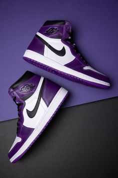 """Channeling the supremely rare Nike Dunk High """"City Attack,"""" another one of those co.jp exclusives from the Air Jordan 1 """"Court Purple evokes a tangible nostalgia that seems to be within all corners of the sneaker world. Moda Sneakers, Sneakers Mode, Sneakers Fashion, Fashion Shoes, Nike Sneakers, Sneakers Style, Air Jordan Sneakers, Classic Sneakers, Nike Fashion"""