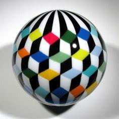 "Hot House Glass ""Tumbling Block"" Mosaic Marble 85 mm"
