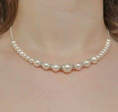 Bridal Necklace Rhinestone Pearl Necklace by somethingjeweled