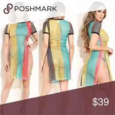 664e4291c1 Rasta Reggae Fishnet Dress Tunic Coverup This item is true to size. Can be  worn as a top
