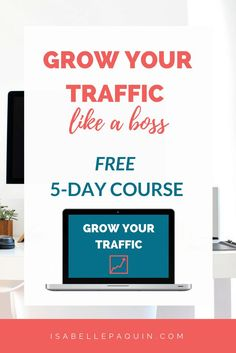 Increase Traffic: Stop the Overwhelm, and Start Growing your Traffic. This FREE 5-day email course shows you the exact steps to kickstart your traffic growth and get more readers.
