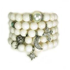 Nan Fusco Diamond Charm Bracelet Stack ($1,550) ❤ liked on Polyvore