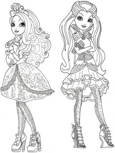 Apple White and Raven Queen Free Coloring Page | Free Printable Ever After High Coloring Pages