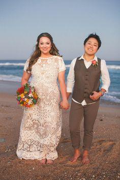 Lo & Kate. What a photogenic couple. Lesbian wedding: gown, pants, vest. #interraciallesbians #qwocwedding