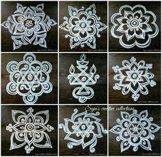 kolam with dots for beginners Indian Rangoli Designs, Rangoli Designs Latest, Simple Rangoli Designs Images, Rangoli Designs Flower, Rangoli Border Designs, Rangoli Patterns, Rangoli Ideas, Rangoli Designs With Dots, Flower Rangoli