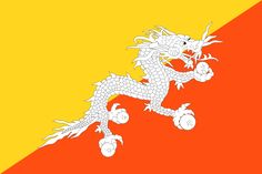 This is the national flag of Bhutan, a landlocked country found at the eastern end of the Himalayas in Southern Asia. Want to learn more? Check out these Bhutan maps. Flags Of The World, We Are The World, Countries Of The World, White Dragon Society, Nepal, Laos, Elodie Frégé, Himalayan, Backgrounds