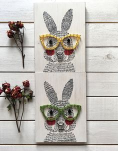 Bunny rabbit in string art glasses. Cute Easter decor, but will be a great addition to the decor all year round. #stringart #ad #handmade #wallart #walldecor #hipster #bunny #rabbit #easter #glasses