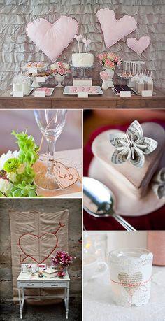 Ideas para decorar bodas con corazones Heart Party, Table Decorations, Wedding Ideas, Diy, Inspiration Boards, Festivus, Mariage, Wedding Decoration, Bricolage