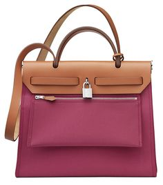 Hermes - Herbag in pink canvas and tan leather. Back View.