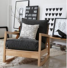 Is this Ikea rocking chair? Home And Living, Decor, Furniture, Small Space Interior Design, Home, Interior Design Living Room, Interior, Rocking Chair, Home Decor