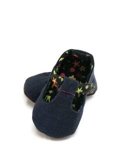 NEW Denim and Flower T Strap Baby Shoe with by LittleThreadWagon, $30.00
