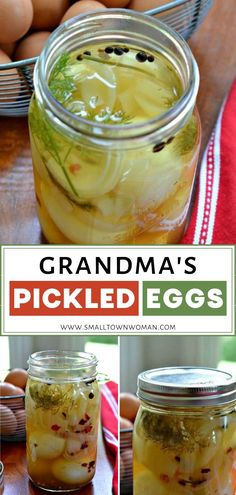 Grandma's Pickled Eggs are incredibly easy to make! Simply heat the liquid mixture, pour over hard-boiled eggs, cover and refrigerate. No need for canning! It comes with helpful hints for the perfect hard-boiled eggs. Add this to your Easter menu ideas! Easy Salad Recipes, Egg Recipes, Drink Recipes, Recipies, Best Pickled Eggs, Pickled Eggs Recipe Dill, Pickle Eggs Recipe, Picked Eggs, Pickled Sausage