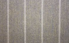 Balmacara Stripe Fabric A sandy blue woven fabric with thin creamy blue stripes.