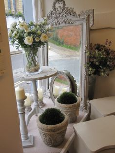 "Stunning French 19th century mirror painted in ""French Linen"" Chalk Paint (TM) by Annie Sloan"