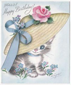 Vintage Greeting Card Cat Kitten Wearing Hat M Cooper Marjorie Rust Craft Happy Birthday Kitten, Cat Birthday Wishes, Happy Birthday Special Friend, Happy Birthday Images, Vintage Birthday Cards, Vintage Greeting Cards, Birthday Greeting Cards, Birthday Greetings, Vintage Wrapping Paper