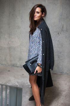extra long coat & Zara dress