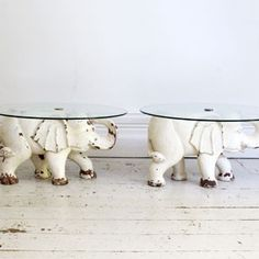 Carved & Painted Wooden Elephant Side Tables - Decorative Collective