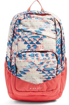 How cute is this backpack by The North Face? A graphic print paired with solid pink makes this gem standout while the intuitive pocket placement and water-resistant finish make this an essential.
