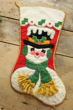 Vintage Felt Sequined Christmas Holiday Stocking Snowman Handmade 50's Beaded