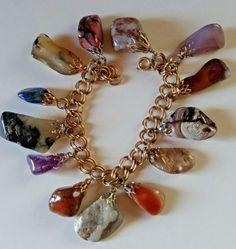 AJC 1/20 12k Gold Charm Bracelet Agate Rutilated Quartz Abalone Agate Jasper #AmericanJewelryChainCo