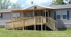 This #mobilehome #porch design incorporates an accessible ramp without taking away the curb appeal. By Ready Decks for Front Porch Ideas. Porch Designs for Mobile Homes | Mobile Home Porches | Porch Ideas for Mobile Homes