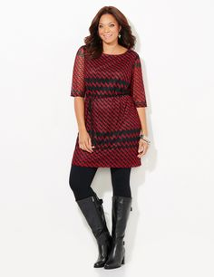 Festive Chevron Dress | Catherines Our beautiful crochet dress has an allover chevron pattern that makes a lasting impression. The elbow-length sleeves have an open crochet design that shows just the right amount of skin. The detachable belt cinches the waist for a flattering fit. Scoop neckline. Bust darts. Fully lined body. Catherines dresses are expertly designed for the plus size woman. #catherines #plussize #plussizefashion #plussizedress