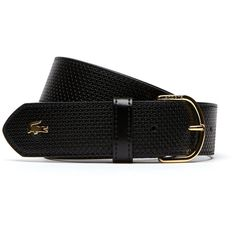 Lacoste Chantaco belt in petit piqué embossed leather with fine... (€43) ❤ liked on Polyvore featuring accessories, belts, belts belts, leather goods, genuine leather belts, adjustable belt, engraved leather belts, leather belts and embossed leather belt