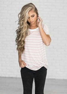 jessakae, casual wear, blonde, blonde hair, hair, style, fashion, street style, womens fashion, spring, stripes, shop