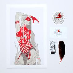 """Red Set by Nikita Binda This pack includes """"The Ancients"""" on beautifully textured watercolour paper, discounted due to test production. It also comes with a brand sticker and business cards."""