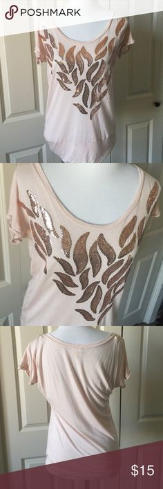Cream Scoop Neck with Gold Sequins 100% rayon Daytrip Tops