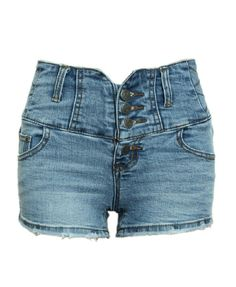 Vintage Button Front Denim Shorts with Raw Edges