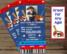 sports ticket invite sports theme party sports by InJOYPrints Ticket Invitation, Invite, Invitations, Sports Theme Birthday, 2nd Birthday, Birthday Ideas, Chalkboard Poster, Indian Party, Kid Names