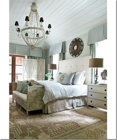 Love the brown touches with the blue AND this color blue is ideal Atlanta Homes Bedroom