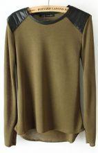 Green Shoulder Contrast PU Leather Loose T-Shirt $28.71 #SheInside