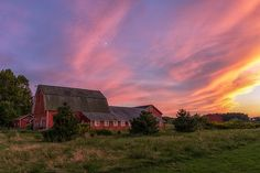 Red Barn Sunset by Mark Papke. To buy prints, just click on the picture. #sunset #barns #landscapes #photography