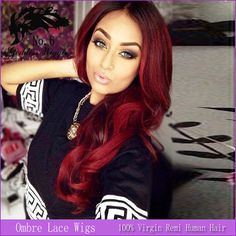 14-24 Inch Human Hair Full Lace Wig Peruvian Red Ombre Lace Wig 130 Density Curly Wigs For White and Black Women