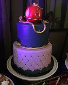 Awesome Disney's Descendants birthday party cake! See more party planning ideas at CatchMyParty.com!
