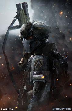 Sci-fi future soldier and armor concept art… Cyberpunk, Character Concept, Character Art, Character Design, Armor Concept, Concept Art, Future Weapons, Sci Fi Armor, Future Soldier