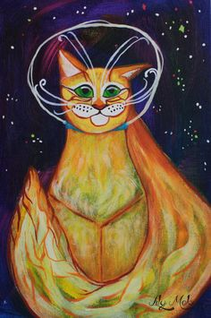 #space #cat #painting