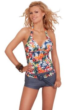 Womens Summer Printed Halter Long Tankini Boyshort Two Piece New Swimwear $36.99