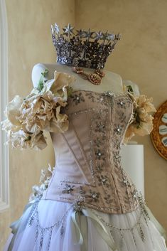 Vintage dress form with ballet skirt, adorned bustier, French crown and floral sleeves by Denise Adams Chafin for White Horse Relics