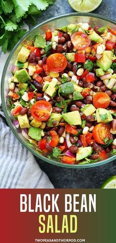 They will love this vegan gluten free black bean easy salad perfect for sharing to everybody Packed with fresh colorful and healthy ingredients this is definitely a salad favorite at all times Try as appetizer side dish or dip with tortilla chips Healthy Food Recipes, Mexican Food Recipes, Cooking Recipes, Dinner Recipes, Dinner Ideas, Cooking Tips, Mexican Desserts, Freezer Recipes, Freezer Cooking