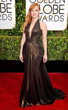 La moda en los 2015 Golden Globes | Bloc de Moda: Noticias de moda, fashion y belleza Primavera Verano 2015 | Jessica Chastain en Versace