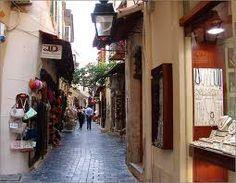 narrow streets in greece -rethymnon in crete